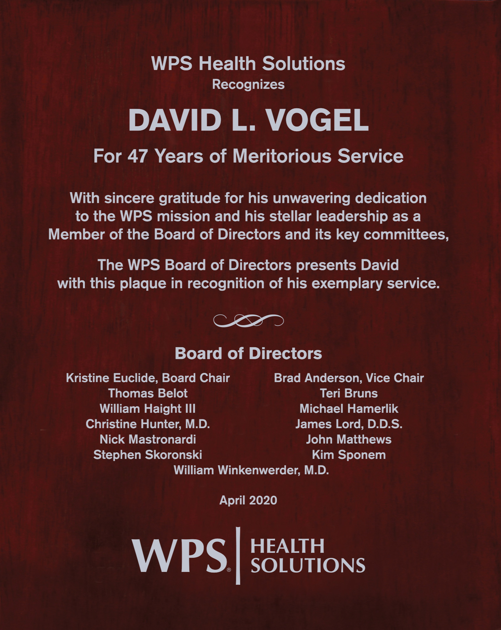 David Vogel plaque of recognition